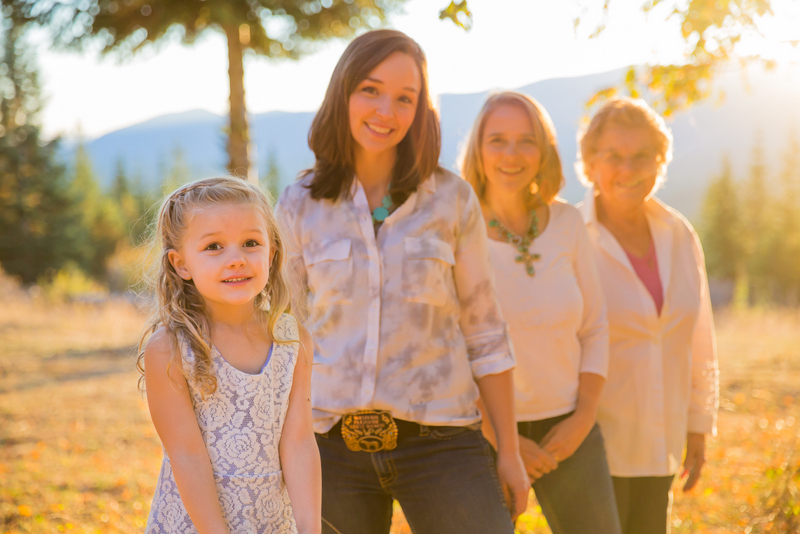 four generations of women and ranch history in white shirts youngest at front oldest at back