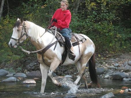 Crossing a creek on horseback