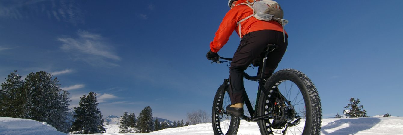 Fatbike riding on groomed trails