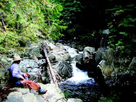 Lounging at the falls