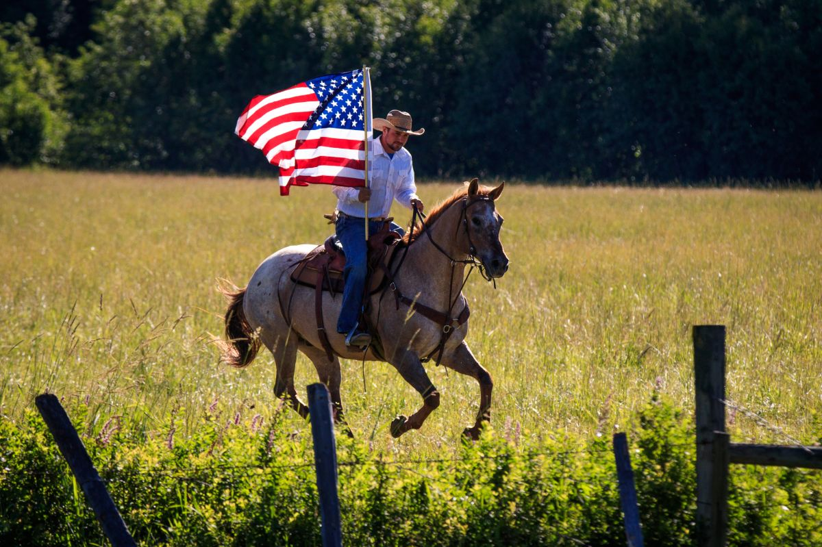 Appaloosa Gelding with Flag