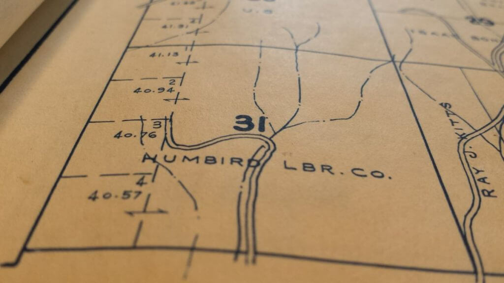 Old map with Humbird Lumber Company and 31 listed across the middle.