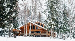 large log lodge set in a snow covered forest