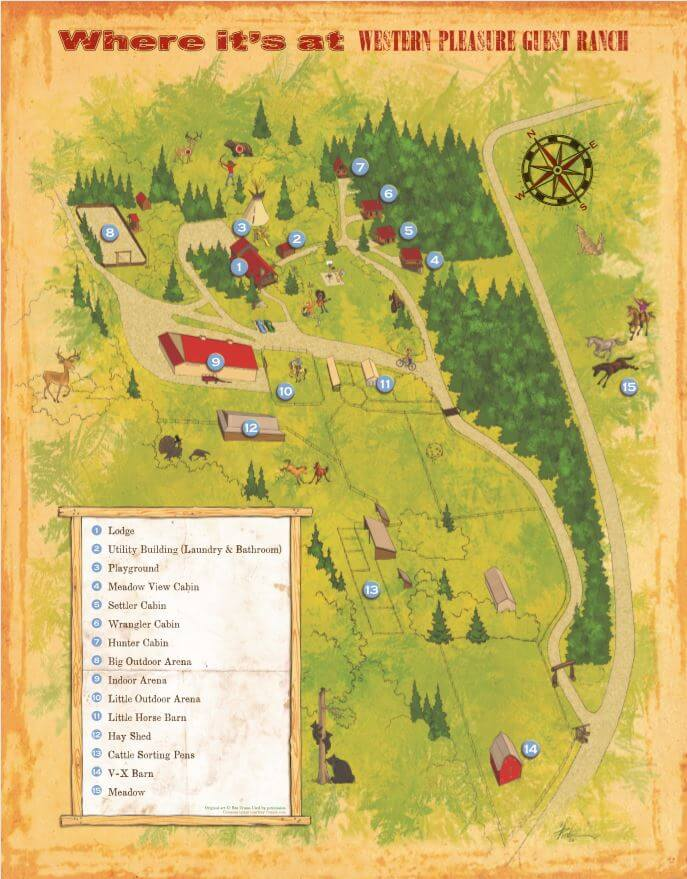 cartoon map of the grounds at Western Pleasure Guest Ranch with labeled list of site names