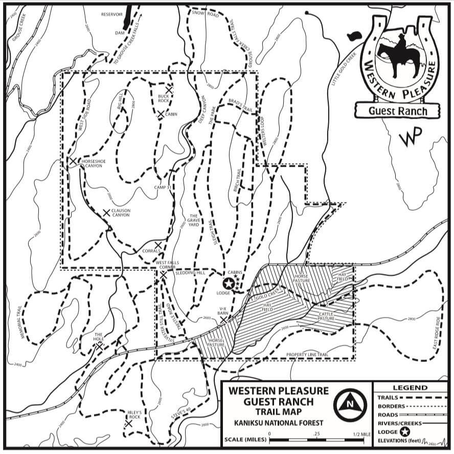 Map showing the trails and topography at Western Pleasure Guest Ranch